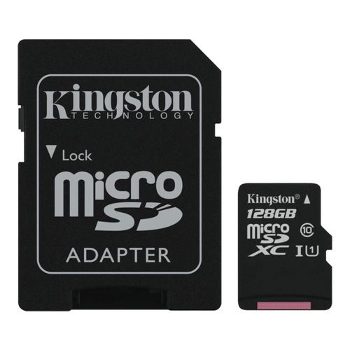 Image of   128GB microSDHC 80R CL10 UHS-I Card Incl. Adapter