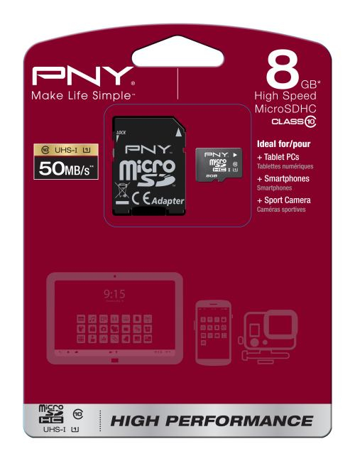 Billede af PNY MicroSDHC 8GB High Performance + SD adapter