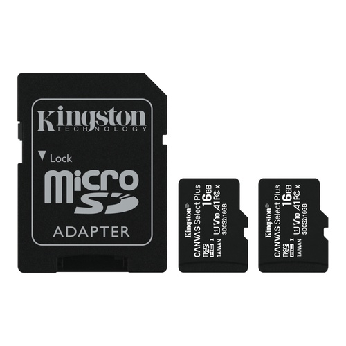 Image of   2 x 16GB micSDHC C Select+ 100R A1 C10 Card +Adpt.