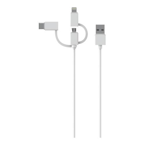 Image of   3-i-1 kabel USB-A 2.0 - USB-C/MicroUSB/Lightning 1m