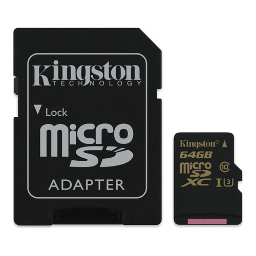 Image of   64GB microSDXC Class U3 UHS-I 90R/45W + SD Adapter