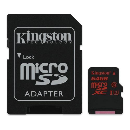 Image of   64GB MicroSDXC UHS-I Class U3 + SD Adapter