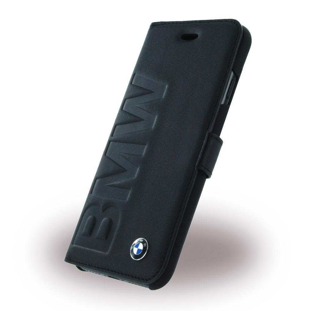 Billede af BMW - Signature Debossed Logo BMFLBKP7LOB - Leather Book Cover / Book Case - Apple iPhone 7 - Black