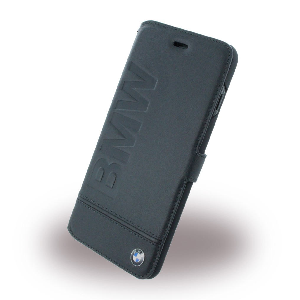Billede af BMW - Signature Imprint Logo BMFLBKP7LLLSB - Leather Book Cover / Book Case - Apple iPhone 7 Plus - Black