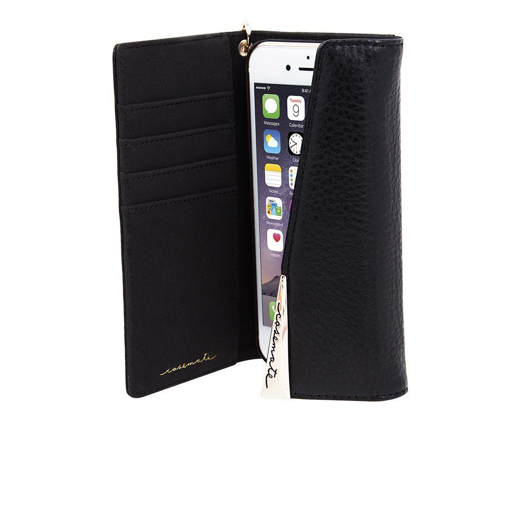 Billede af Case-Mate Genuine Leather Wristlet Folio Case for Apple iPhone 7/6s/6 Plus in Black Leather