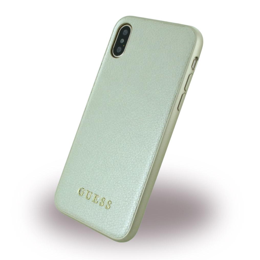Billede af Guess Hardcase Kunstlæder cover iPhone X Guld