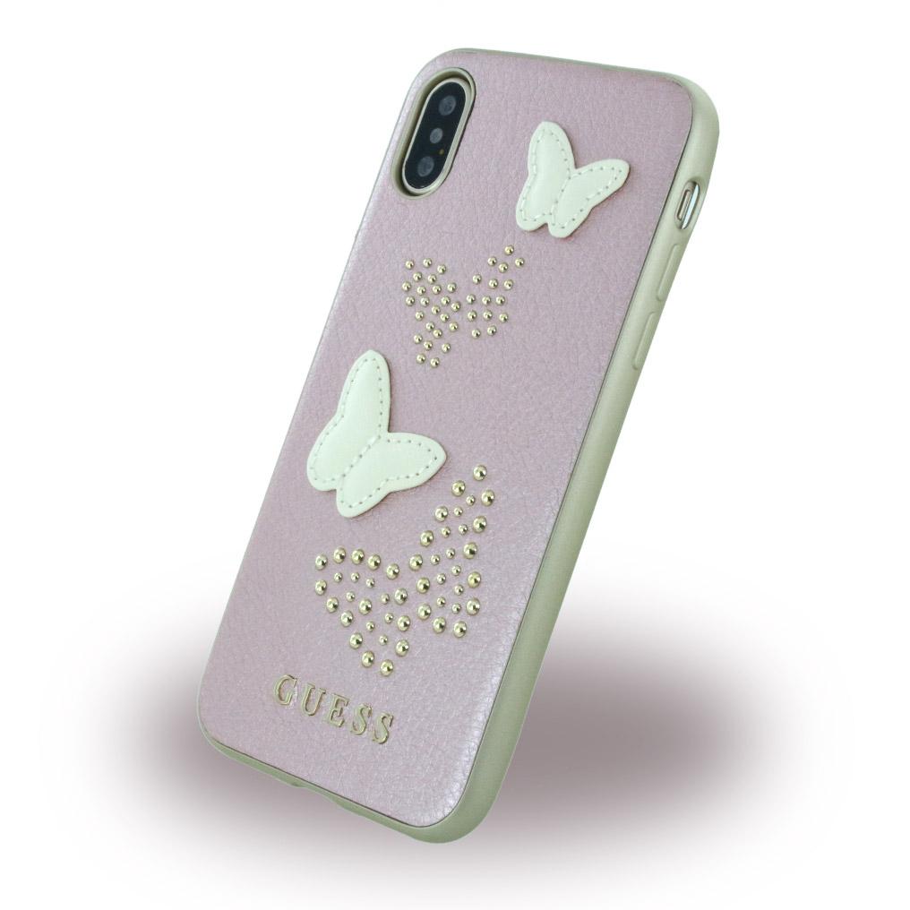 Billede af Guess Hardcase Kunstlæder cover Sommerfugle iPhone X Rose Gold