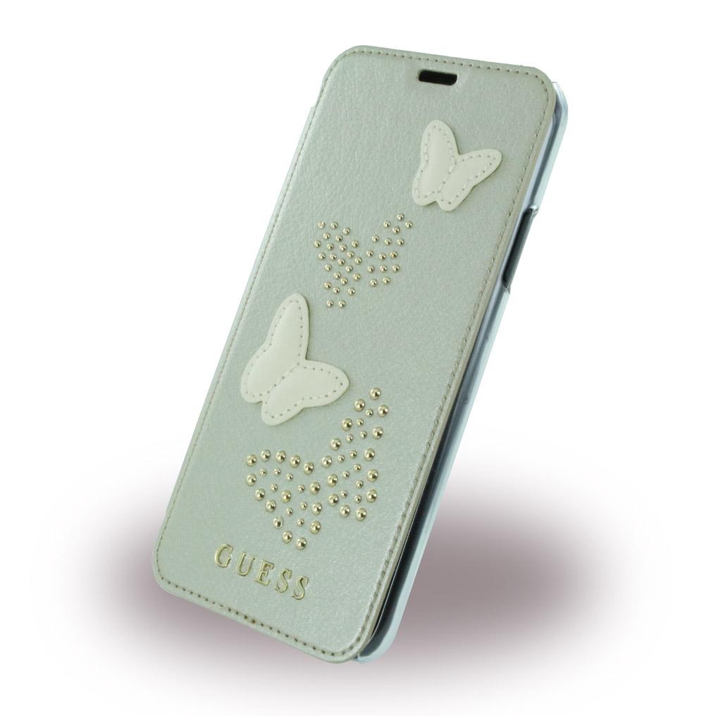Billede af Guess Sommerfugle Kunstlæder Wallet cover iPhone X Sølv/Transparent