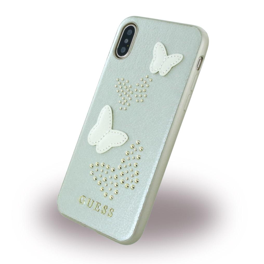Billede af Guess Hardcase Kunstlæder cover Sommerfugle iPhone X Sølv/Beige