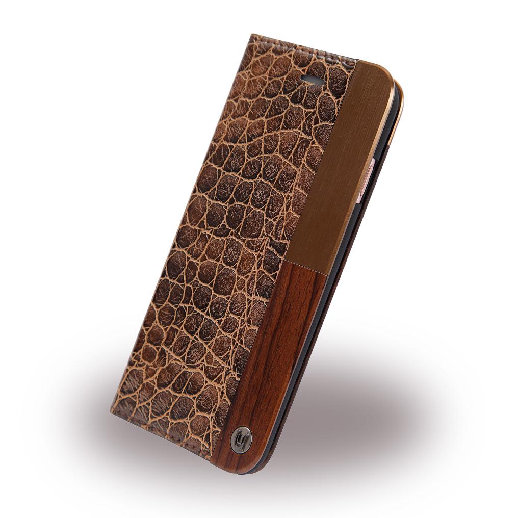 Uunique - Lux Croc UUFMIP7HSF04 - Book Cover - Apple iPhone 7 - Dark Brown