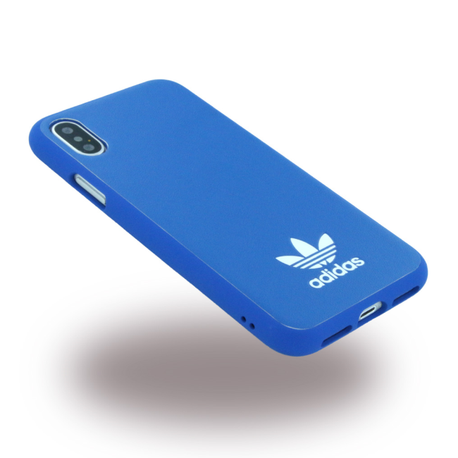 Image of   Adidas - Moulded - Leatherette Hard Cover - Apple iPhone X - Bluebird/White
