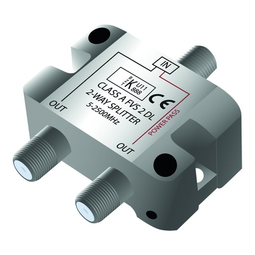 Image of   Antenna TV-splitter F-connector Class A 1-in/2-out