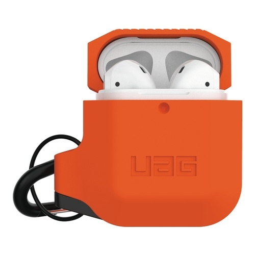 Image of   Apple Airpods Silicone Case Orange/Grey