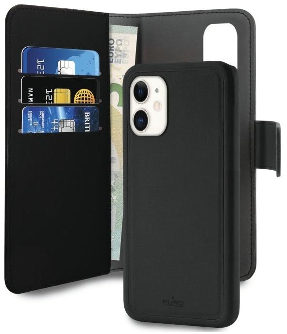 Image of Apple iPhone 11 Magnet pung taske og cover 2-i-1 fra Puro - Sort