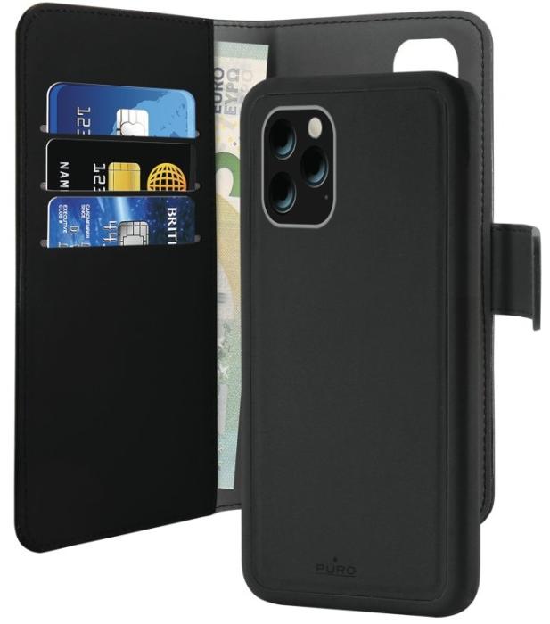 Image of Apple iPhone 11 Pro Max Magnet pung taske og cover 2-i-1 fra Puro - Sort