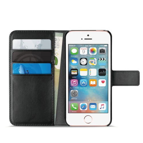 Image of   Apple iPhone 5/5S/SE Puro Milano Wallet flipcover med 3 Kreditkortlommer - Sort