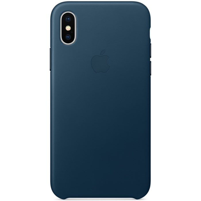 Image of   Apple iPhone X Leather Case - Cosmos Blue MQTH2ZM/A