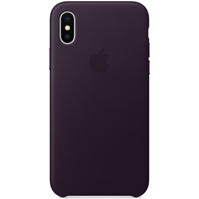 Image of   Apple iPhone X Leather Case - Dark Aubergine MQTG2ZM/A