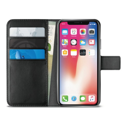 Image of   Apple iPhone XS Max Puro Milano Wallet flipcover med 3 Kreditkortlommer - Sort