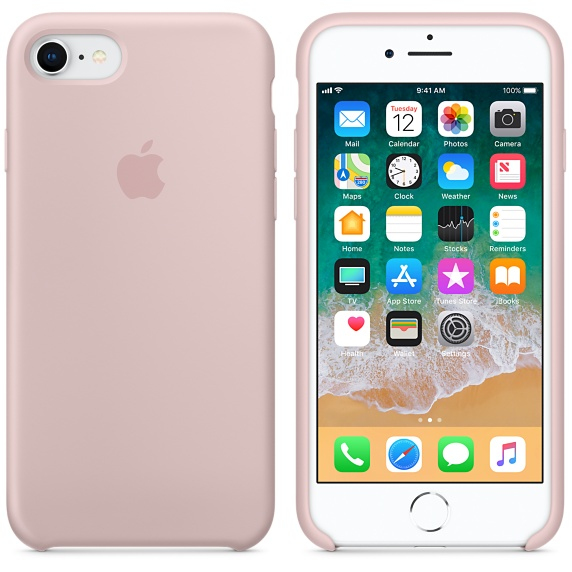 Image of   APPLE SILICONE CASE (IPHONE 8 PINK SAND)