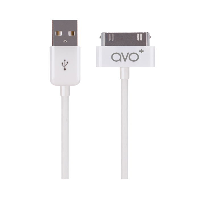Image of   AVO+ charge and sync cableApple 30 pin white 1m for iPhone 4/4s white