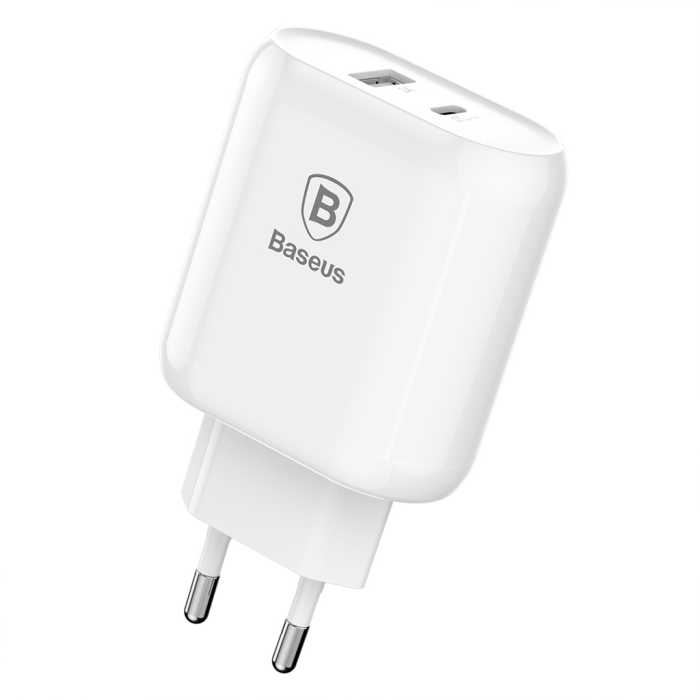 Image of   Baseus Bojure-serien USB-C PD + U hurtigoplader 28W - Hvid