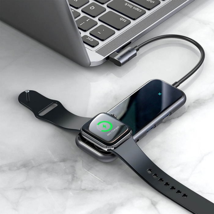 Image of   Baseus Mirror series USB-C adapter with built in charger for Apple Watch