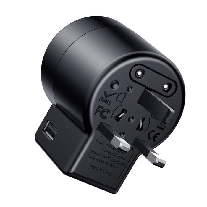Image of   Baseus Rotation Universal Travel Charger - Black