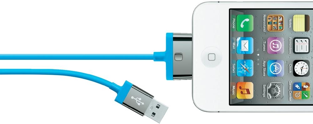 Image of   Belkin 30-pin Charge/Sync Cable - 2 mtr Blue