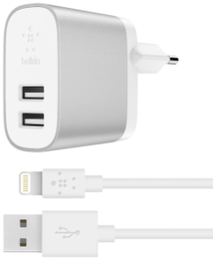 Image of   Belkin 4.8 A Dual USB-A Home Charger + Lightning to A Cable