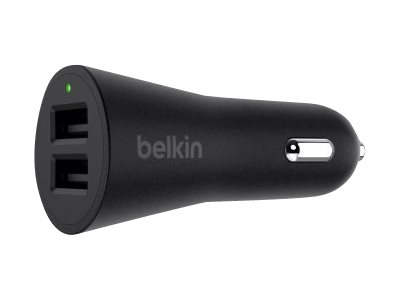 Image of   BELKIN DUAL CAR CHARGER (1M LIGHTNING CABLE 24W BLACK)