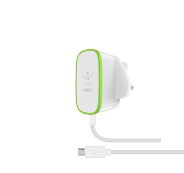 Image of   BELKIN HOME CHARGER (WIRED MICROUSB CABLE 12W WHT)