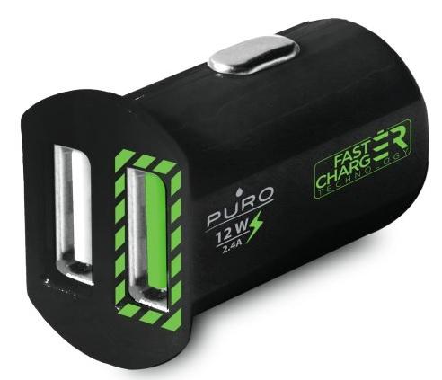 Image of   Biloplader med 2 USB Porte Puro Universal 2.4A Fast Charger Sort