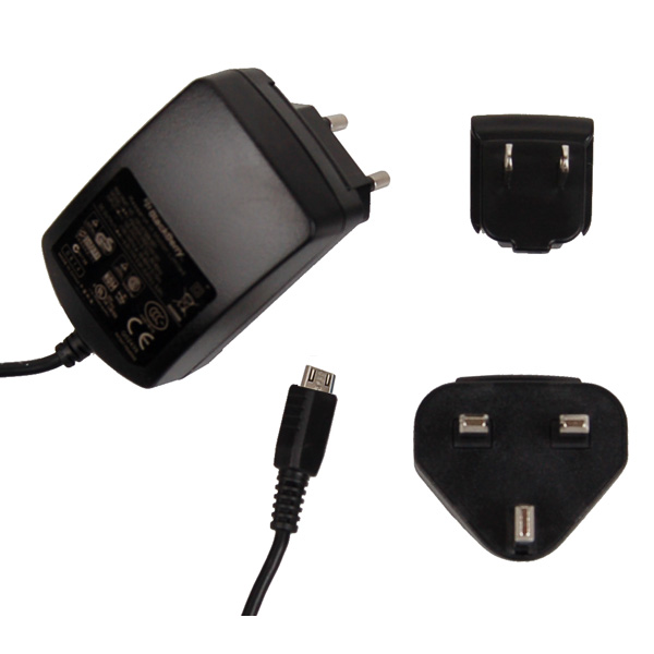 Image of   BlackBerry - ACC-18080-203 - Travel Charger with EU UK US Adapter - Micro USB - Black - 500mAh