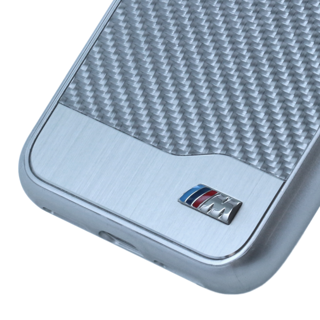 Image of   BMW M - Carbon Aluminium Stripe - Hard Cover - Apple iPhone X - Silver