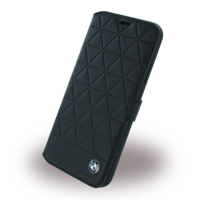 Image of   BMW - Signature Hexagon - Leather Book Cover - Apple iPhone X - Black