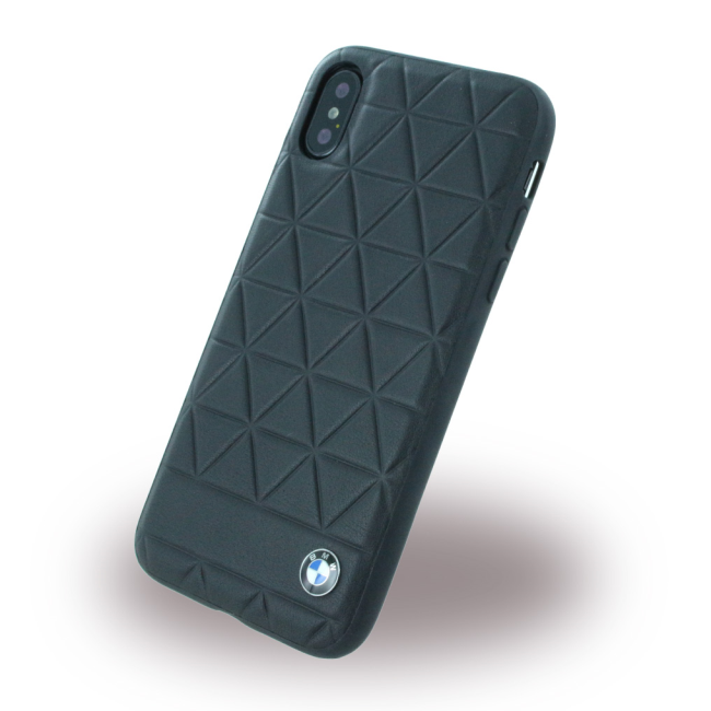Image of   BMW - Signature Hexagon - Leather Hard Cover - Apple iPhone X - Black