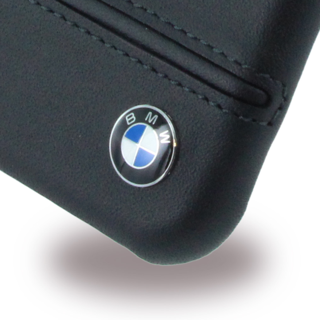 Image of   BMW - Signature Imprint Logo - Leather Hard Cover - Apple iPhone 7 8 - Black