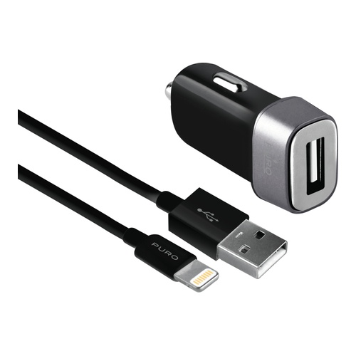 Image of   Car Charger USB-A 5W w/Lightning Cable Black