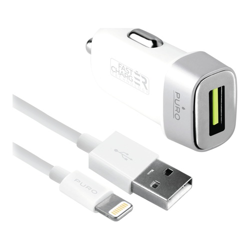 Image of   Car Fast Charger USB-A 12W w/Lightning Cable Wht