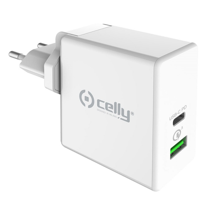 Image of   CELLY QUICK TRAVEL CHARGER (POWER DELIVERY 45W WHITE)