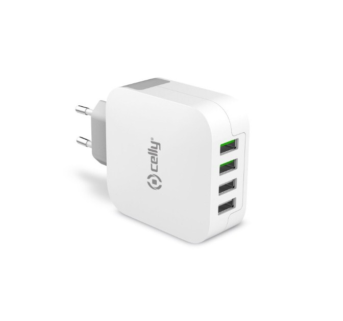 Image of   CELLY TRAVEL CHARGER TURBO (4 USB 4.8A PLUG WHITE)