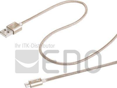 Image of   Celly USB-Datenkabel für Geräte mit Micro-USB Anschluss (Stoff) gold