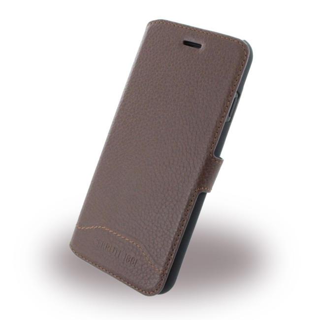 Image of   Cerruti 1881 - CEFLBKP7GRLBR Trim - Leather Book Cover - Apple iPhone 7 8 - Brown