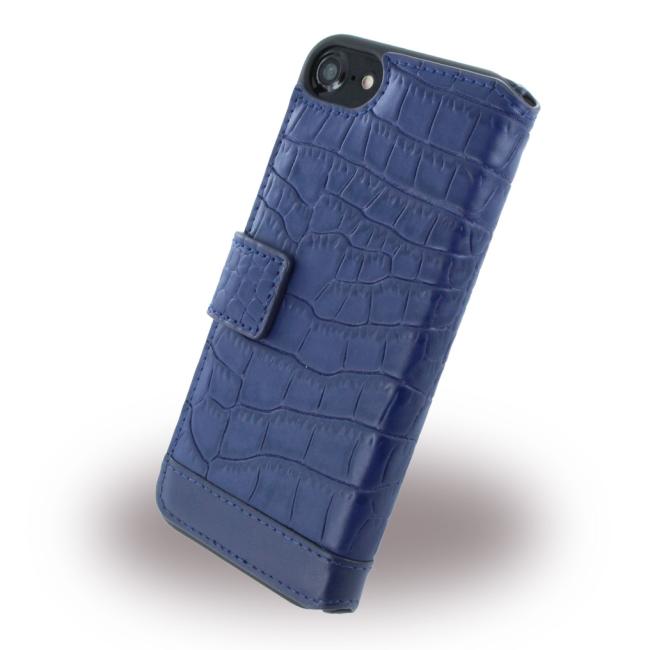 Image of   Cerruti 1881 - CEFLBKP7MCNA - Crocodile Print - Leatherette Phone Wallet / Book Cover - Apple iPhone 7 - Navy
