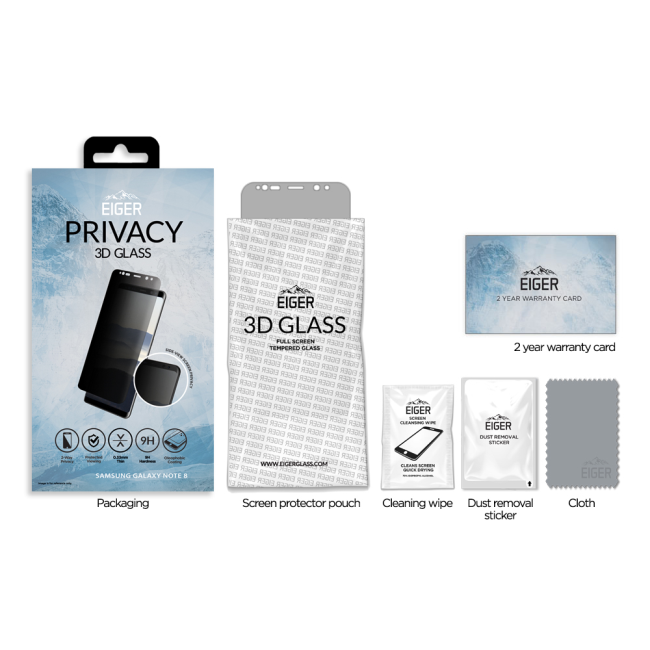 Eiger 3D CF Privacy SP Glass Samsung Note 8
