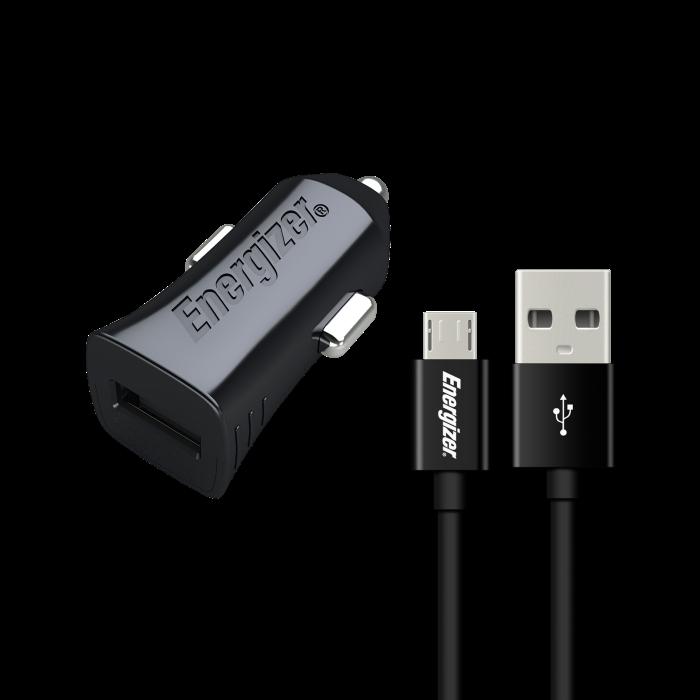 Image of   Energizer Biloplader (1 USB) Micro USB 1A - Sort