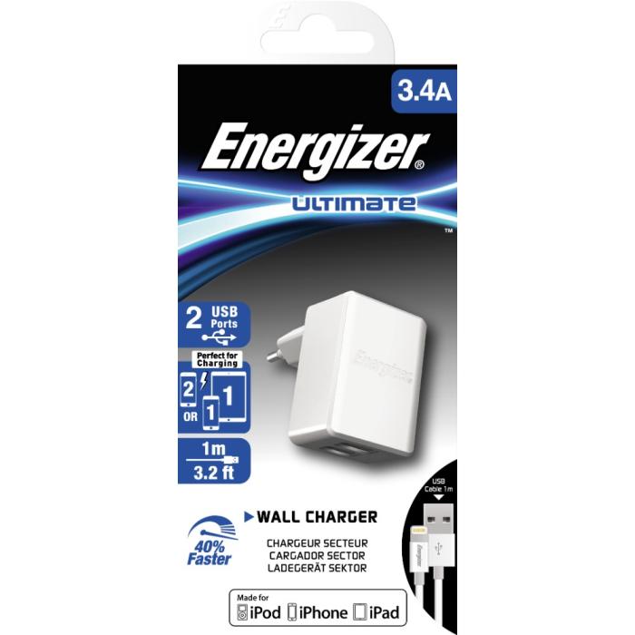 Energizer EU Mains Charger Dual Lightning 3.4A White  b2746adff8ec9