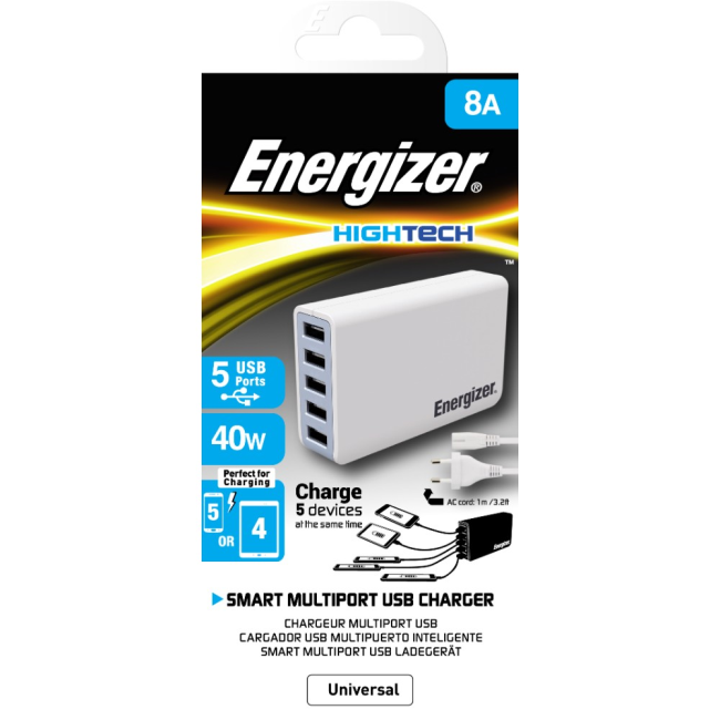 Image of   Energizer EU Multi Port 5 USB 40W No Cable White