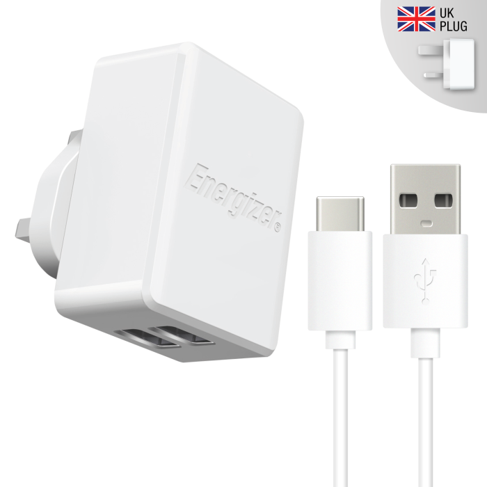 Image of   Energizer UK Mains Charger Dual Type-C 2.4A White